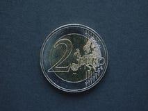 2 ευρώ & x28 EUR& x29  νόμισμα Στοκ Εικόνες