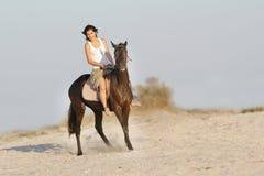 Ευτυχές άλογο οδήγησης στη φυσική ανασκόπηση Στοκ Εικόνες