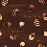 Ευτυχές άνευ ραφής σχέδιο αυγών Πάσχα-σοκολάτας Στοκ Φωτογραφίες
