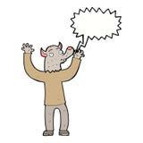 ευτυχές άτομο werewolf κινούμενων σχεδίων με τη λεκτική φυσαλίδα Στοκ Εικόνες