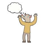 ευτυχές άτομο werewolf κινούμενων σχεδίων με τη σκεπτόμενη φυσαλίδα Στοκ φωτογραφία με δικαίωμα ελεύθερης χρήσης