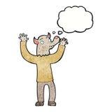 ευτυχές άτομο werewolf κινούμενων σχεδίων με τη σκεπτόμενη φυσαλίδα Στοκ Εικόνα