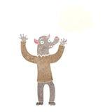 ευτυχές άτομο werewolf κινούμενων σχεδίων με τη σκεπτόμενη φυσαλίδα Στοκ Εικόνες