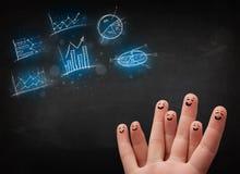 Ευτυχές δάχτυλο smileys με τα μπλε εικονίδια και τα σύμβολα διαγραμμάτων Στοκ Εικόνα