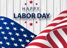 Ευτυχές έμβλημα διακοπών Εργατικής Ημέρας με υπόβαθρο κτυπήματος βουρτσών στην Ηνωμένη εθνική σημαία ελεύθερη απεικόνιση δικαιώματος