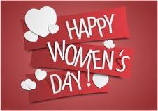 Ευτυχές έμβλημα ημέρας γυναικών ` s με τις καρδιές επίσης corel σύρετε το διάνυσμα απεικόνισης Στοκ φωτογραφία με δικαίωμα ελεύθερης χρήσης