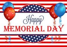 Ευτυχές έμβλημα ημέρας μνήμης Πρότυπο υποβάθρου ημέρας μνήμης με τη αμερικανική σημαία ελεύθερη απεικόνιση δικαιώματος