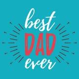 Ευτυχές έμβλημα ημέρας πατέρων ` s και giftcard επίσης corel σύρετε το διάνυσμα απεικόνισης Στοκ Εικόνα