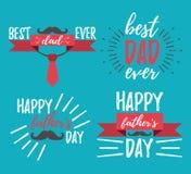 Ευτυχές έμβλημα ημέρας πατέρων ` s και giftcard επίσης corel σύρετε το διάνυσμα απεικόνισης Στοκ Εικόνες