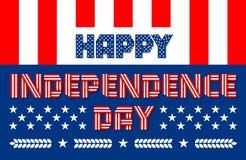Ευτυχές έμβλημα ημέρας της ανεξαρτησίας για την ΑΜΕΡΙΚΑΝΙΚΗ εθνική εορτή επίσης corel σύρετε το διάνυσμα απεικόνισης Στοκ Εικόνες