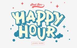 Ευτυχές έμβλημα Ιστού ώρας, επιγραφή, κάλυψη Καλλιτεχνική κωμική εγγραφή Στοκ Εικόνες