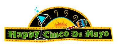 Ευτυχές έμβλημα Cinco de Mayo στοκ εικόνες