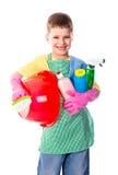 Ευτυχές αγόρι με τον καθαρισμό των εργαλείων Στοκ Εικόνες