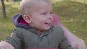 Ευτυχές αγόρι σε εύθυμος-πηγαίνω-στρογγυλό στο πάρκο ιπποδρόμιο απόθεμα βίντεο