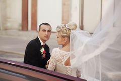 Ευτυχές ακριβώς παντρεμένο ζευγάρι σε ένα υπόβαθρο του όμορφου archi Στοκ φωτογραφία με δικαίωμα ελεύθερης χρήσης