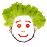 Ευτυχές ανθρώπινο κεφάλι φιαγμένο από λαχανικά Στοκ εικόνα με δικαίωμα ελεύθερης χρήσης