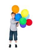 ευτυχές απομονωμένο λευκό αγοριών μπαλονιών Στοκ Εικόνες