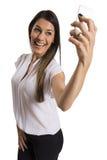 ευτυχές απομονωμένο τηλέφωνο κυττάρων επιχειρηματιών ανασκόπησης που χαμογελά το επιτυχές λευκό Στοκ εικόνες με δικαίωμα ελεύθερης χρήσης
