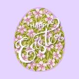 Ευτυχές αυγό Πάσχας με τα λουλούδια Στοκ Εικόνες