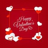 Ευτυχές αφηρημένο υπόβαθρο ημέρας βαλεντίνων ` s με τις καρδιές και την επιστολή Στοκ Φωτογραφία