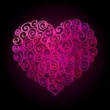 Ευτυχές βαλεντίνων έμβλημα Ιστού ημέρας κόκκινο διαμορφωμένο καρδιά διανυσματική απεικόνιση