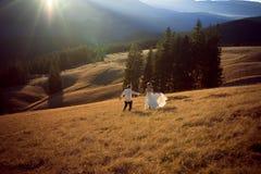 Ευτυχές γαμήλιο ζεύγος που τρέχει και που έχει τη διασκέδαση στον τομέα που περιβάλλεται από τα βουνά Στοκ Εικόνες
