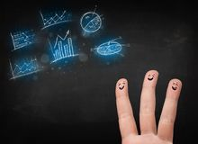 Ευτυχές δάχτυλο smileys με τα μπλε εικονίδια και τα σύμβολα διαγραμμάτων Στοκ Εικόνες