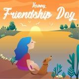 Ευτυχές διανυσματικό σχέδιο ημέρας φιλίας ελεύθερη απεικόνιση δικαιώματος