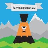 Ευτυχές εικονίδιο ημέρας Groundhog Σχέδιο άνοιξη με Woodchuck Στοκ Εικόνα