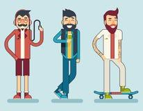 Ευτυχές εικονίδιο χαρακτήρα Geek Hipster ατόμων χαμόγελου Στοκ Φωτογραφία