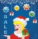 ευτυχές λευκό αγορών πώλησης κοριτσιών Χριστουγέννων ανασκόπησης Στοκ εικόνα με δικαίωμα ελεύθερης χρήσης