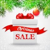ευτυχές λευκό αγορών πώλησης κοριτσιών Χριστουγέννων ανασκόπησης Άσπρο κιβώτιο δώρων με ένα κόκκινο τόξο διανυσματική απεικόνιση
