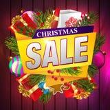 ευτυχές λευκό αγορών πώλησης κοριτσιών Χριστουγέννων ανασκόπησης απεικόνιση αποθεμάτων