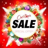 ευτυχές λευκό αγορών πώλησης κοριτσιών Χριστουγέννων ανασκόπησης διανυσματική απεικόνιση