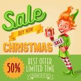 ευτυχές λευκό αγορών πώλησης κοριτσιών Χριστουγέννων ανασκόπησης Στοκ Φωτογραφία