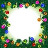 ευτυχές εύθυμο νέο έτος &Chi Εορταστική γιρλάντα με τις ζωηρόχρωμες σφαίρες απεικόνιση αποθεμάτων