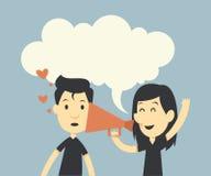 Ευτυχές ζεύγος ερωτευμένο με megaphone διανυσματική απεικόνιση