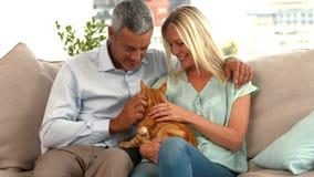 Ευτυχές ζεύγος με τη γάτα τους απόθεμα βίντεο