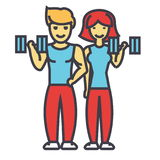 Ευτυχές ζεύγος στη γυμναστική ικανότητας, κατάλληλος άνδρας και έννοια γυναικών απεικόνιση αποθεμάτων