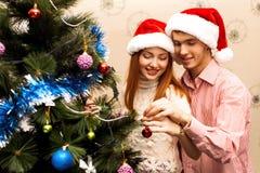 Ευτυχές ζεύγος, cristmas Στοκ Εικόνα