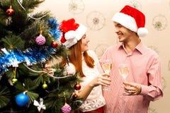 Ευτυχές ζεύγος, cristmas Στοκ εικόνα με δικαίωμα ελεύθερης χρήσης