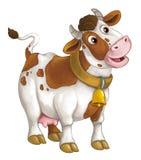Ευτυχές ζώο αγροκτημάτων κινούμενων σχεδίων - εύθυμη αγελάδα στέκεται και - καλλιτεχνικό ύφος - που απομονώνεται διανυσματική απεικόνιση