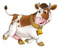 Ευτυχές ζώο αγροκτημάτων κινούμενων σχεδίων - εύθυμη αγελάδα τρέχει το χαμόγελο και το κοίταγμα - καλλιτεχνικό ύφος - που απομονώ ελεύθερη απεικόνιση δικαιώματος