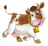 Ευτυχές ζώο αγροκτημάτων κινούμενων σχεδίων - εύθυμη αγελάδα τρέχει το χαμόγελο και το κοίταγμα - καλλιτεχνικό ύφος - που απομονώ διανυσματική απεικόνιση