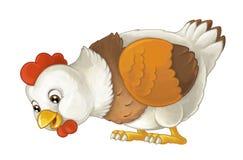 Ευτυχές ζώο αγροκτημάτων κινούμενων σχεδίων - εύθυμη κότα στέκεται και - καλλιτεχνικό ύφος - που απομονώνεται απεικόνιση αποθεμάτων