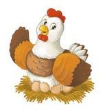 Ευτυχές ζώο αγροκτημάτων κινούμενων σχεδίων - η εύθυμη κότα κάθεται το χαμόγελο και το κοίταγμα απεικόνιση αποθεμάτων