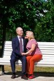 Ευτυχές ηλικιωμένο ζεύγος που στηρίζεται σε έναν πάγκο στοκ φωτογραφίες