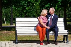 Ευτυχές ηλικιωμένο ζεύγος που στηρίζεται σε έναν πάγκο στοκ εικόνες με δικαίωμα ελεύθερης χρήσης