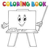 Ευτυχές θέμα 1 schoolboard βιβλίων χρωματισμού Στοκ εικόνες με δικαίωμα ελεύθερης χρήσης