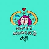 Ευτυχές διεθνές women& x27 κορίτσι φύσης ημέρας του s doodle Στοκ Εικόνα